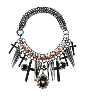 Image 1 ofASOS Premium Spike Jewel Cross Necklace
