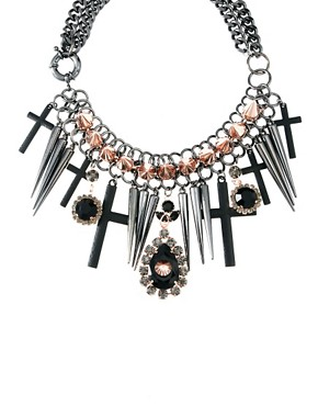 Image 2 ofASOS Premium Spike Jewel Cross Necklace