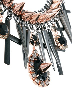 Image 4 ofASOS Premium Spike Jewel Cross Necklace