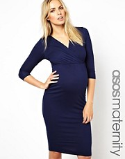 ASOS Maternity Pencil Dress With Wrap Front