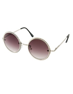 Image 1 ofASOS Diamante Round Sunglasses