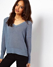 ASOS Sheer Mesh Cropped V Neck Sweater