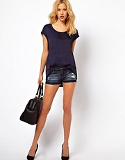 Mango Denim Short With Let Down Hem Detail