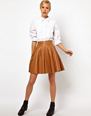 ASOS Premium Skirt in Pleated Leather
