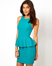 Lipsy Textured Peplum Dress