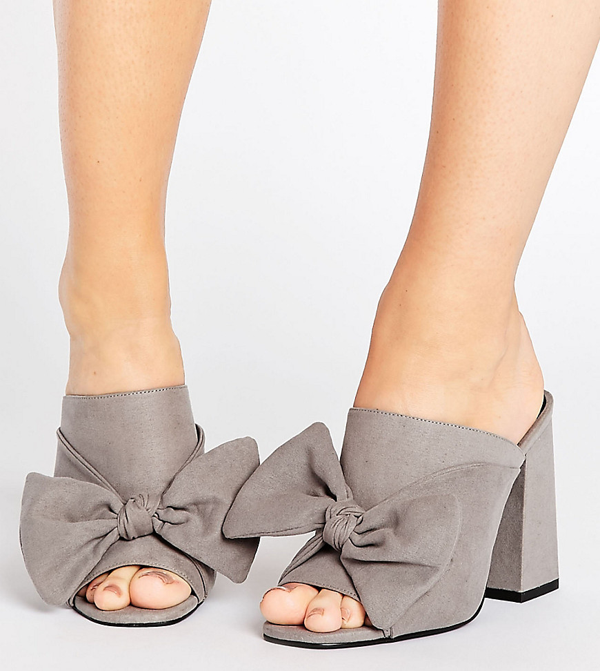 New Look Wide Fit Bow Mule - Gray
