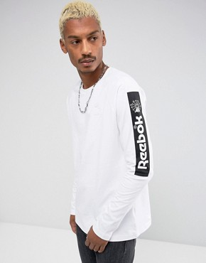 Reebok Long Sleeve T-Shirt With Arm Print In White BR4631