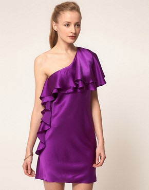 Image 1 ofHalston Heritage One Shoulder Ruffle Dress