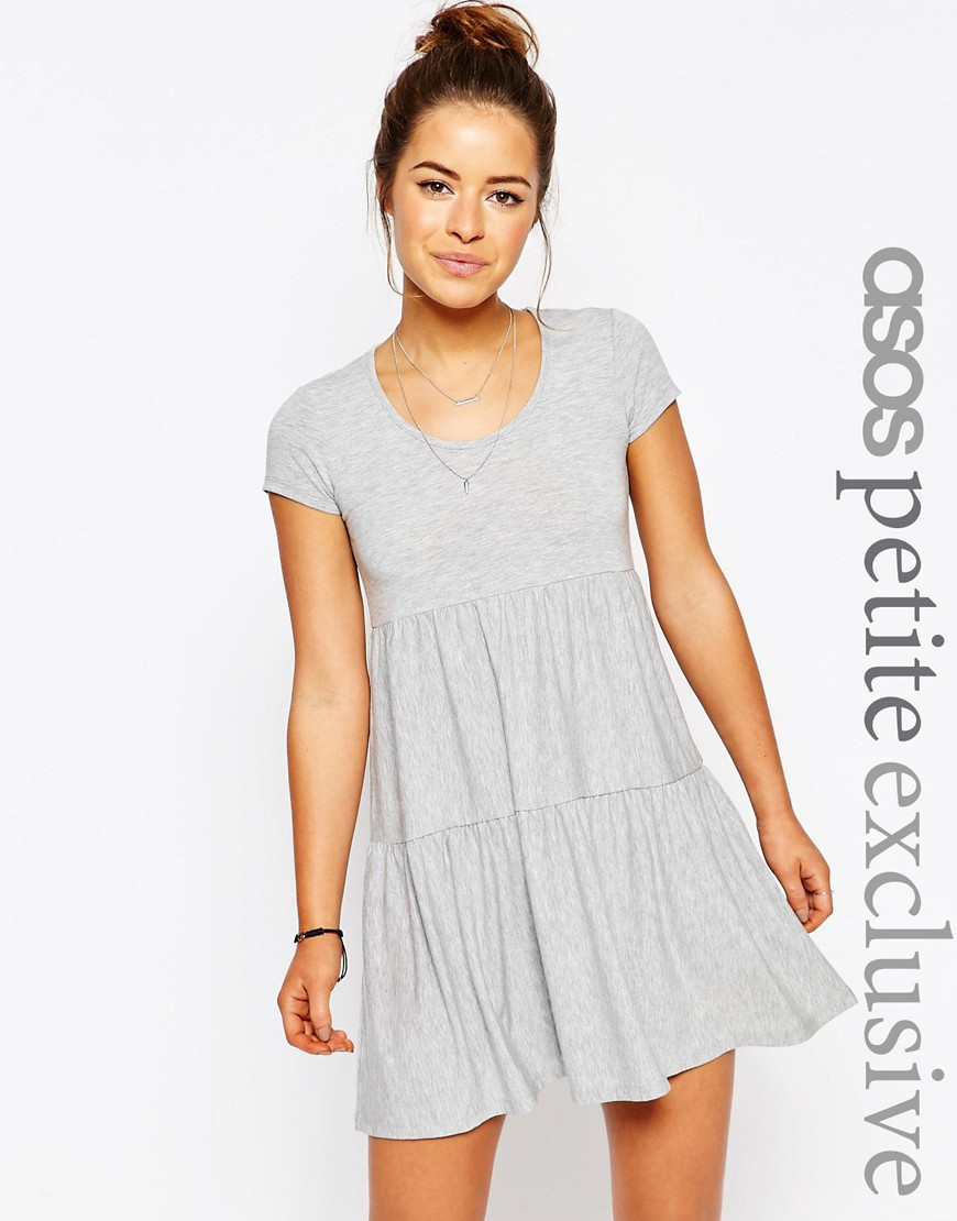 ASOS PETITE Simple Tiered Smock Dress - Gray