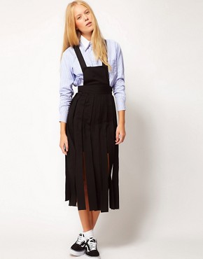 Image 1 ofASOS White Dungaree Skirt