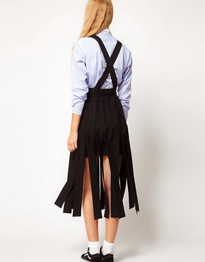 Image 2 ofASOS White Dungaree Skirt