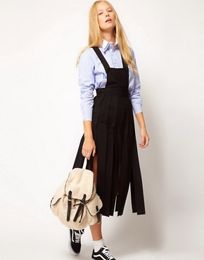 Image 4 ofASOS White Dungaree Skirt