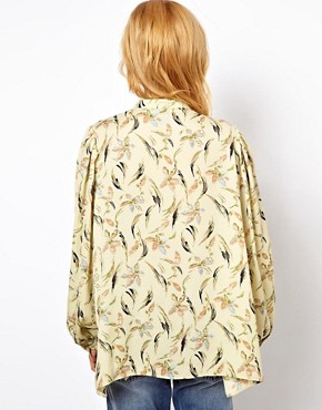 Image 2 ofASOS Smock Top In Floral Feather Print