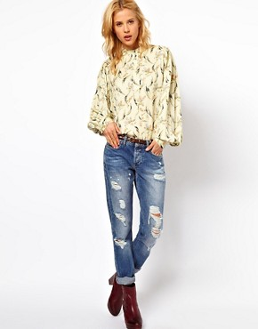 Image 4 ofASOS Smock Top In Floral Feather Print