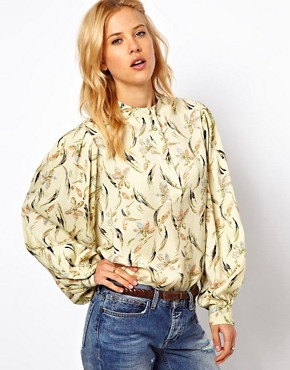 Image 1 ofASOS Smock Top In Floral Feather Print