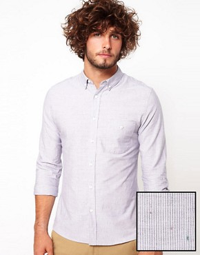 Image 1 ofASOS Shirt With Neppy Ticking Stripe