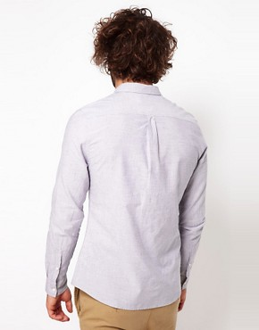 Image 2 ofASOS Shirt With Neppy Ticking Stripe