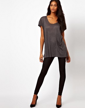 Image 1 ofASOS Leggings in Denim Look with Side Panel