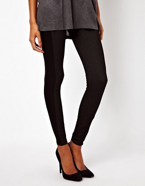 Image 4 ofASOS Leggings in Denim Look with Side Panel