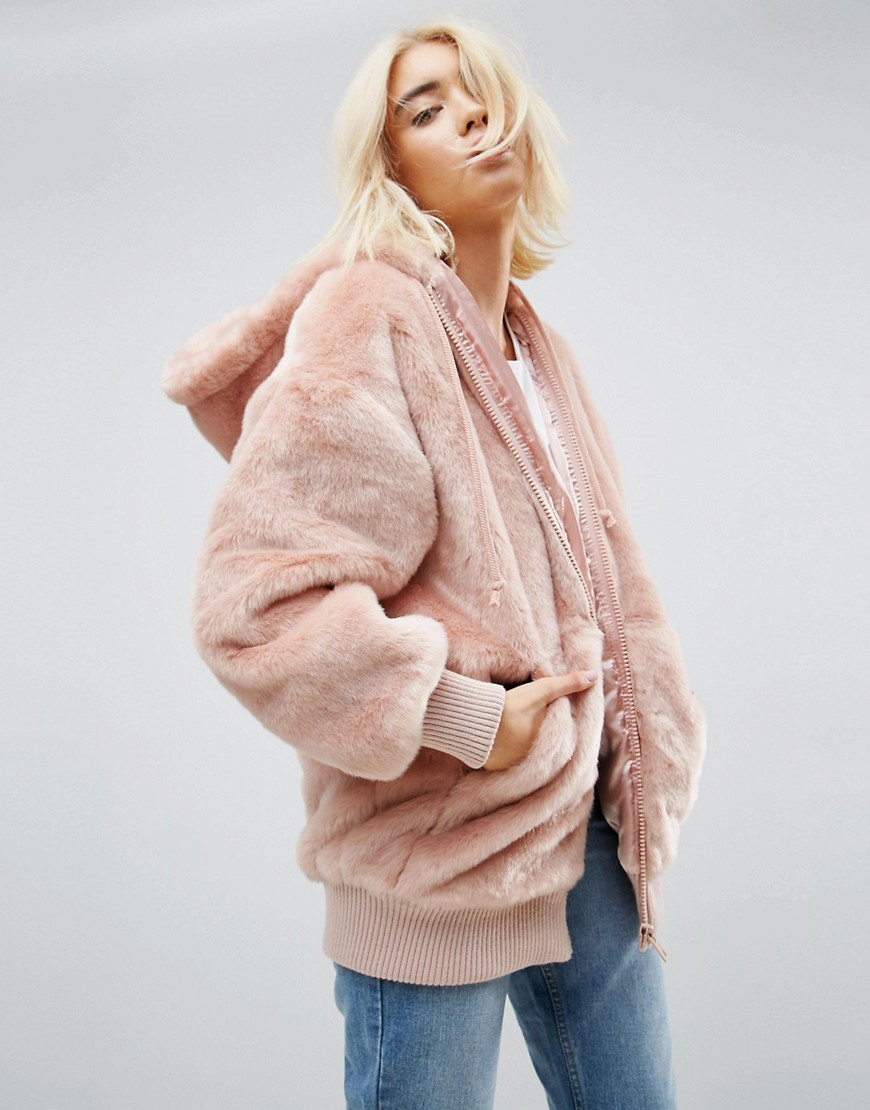 ASOS Oversized Hooded Jacket in Faux Fur - Nude