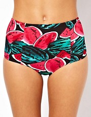 American Apparel  Hochtaillierte Bikinihose mit Wassermelonenmuster