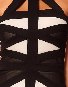 Image 3 ofLipsy Contrast Cut About Bandage Dress