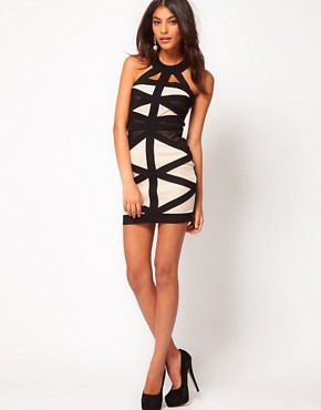 Image 4 ofLipsy Contrast Cut About Bandage Dress