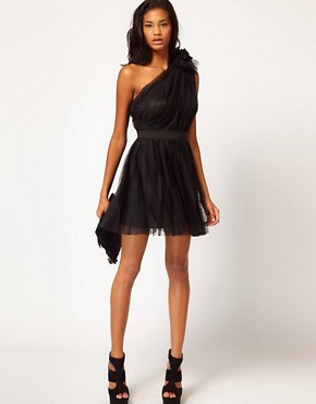 Image 4 ofASOS Pleated Dress with One-Shoulder