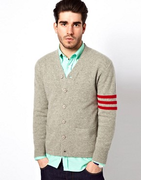 Image 1 ofGant Rugger Cardigan with Varsity Stripe Sleeve