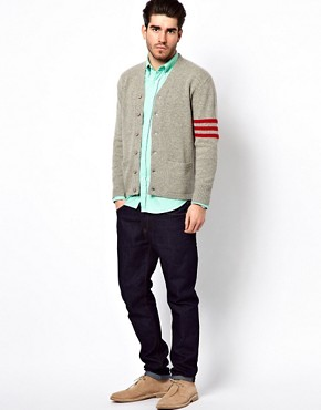 Image 4 ofGant Rugger Cardigan with Varsity Stripe Sleeve