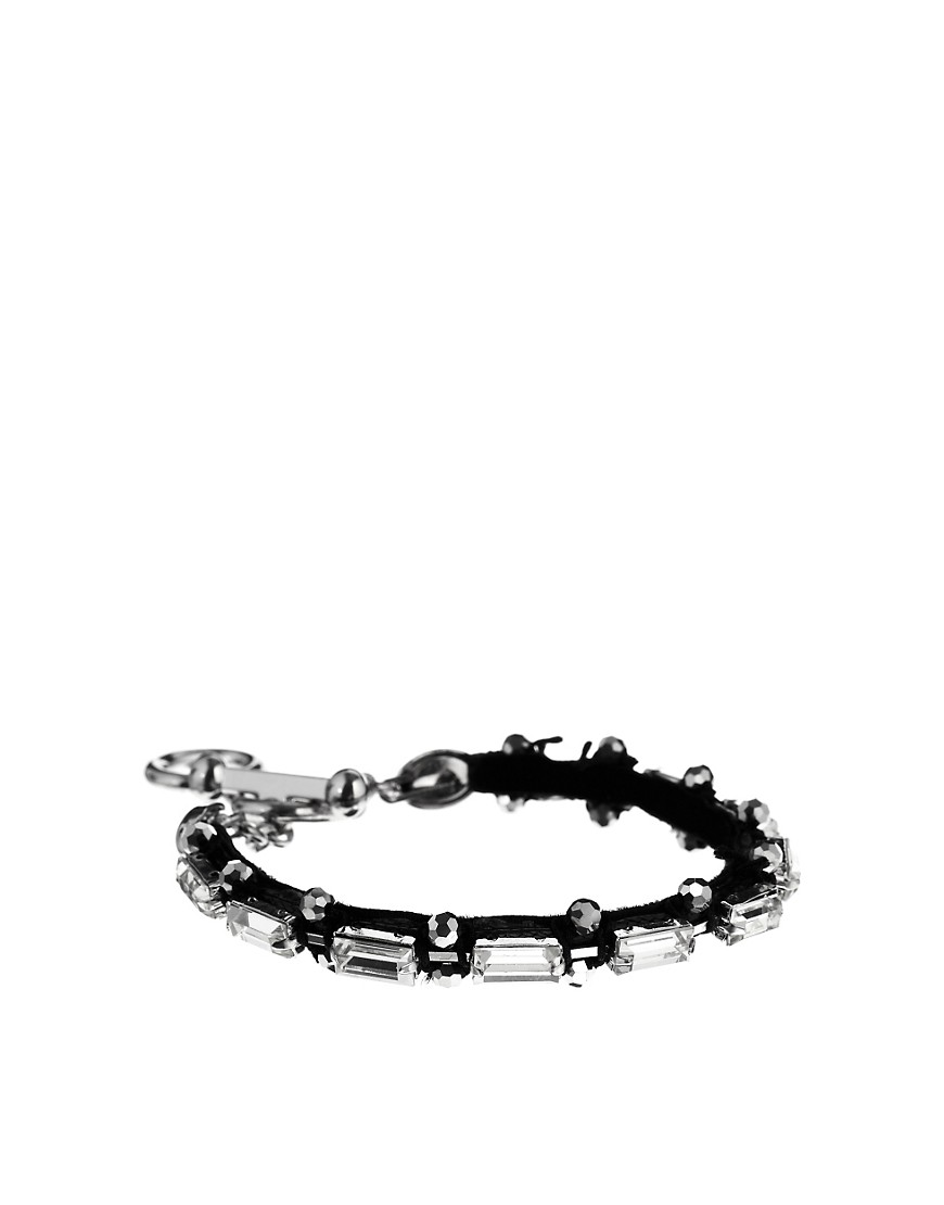 Adele Marie Crystal Beaded Bracelet With T-Bar Finish - Silver