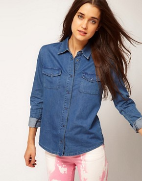 Image 2 ofASOS Washed Denim Shirt with Bow Back Detail