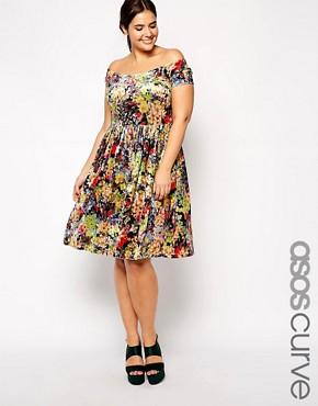 ASOS CURVE Exclusive Bardot Skater Dress in Floral Velvet