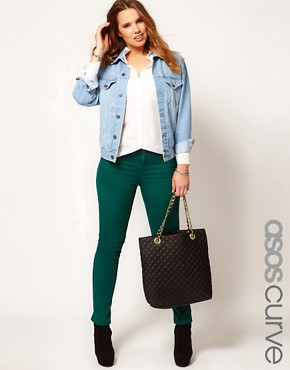 Image 1 ofASOS CURVE Exclusive Skinny In Green #4