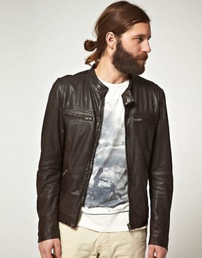 Image 1 ofEdwin Blitz Leather Biker Jacket