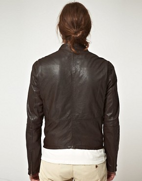 Image 2 ofEdwin Blitz Leather Biker Jacket
