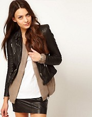 Muubaa Sharp Shouldered Leather Biker Jacket in Black