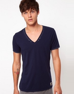 Image 1 ofDiesel Hard Labour V Neck T-Shirt