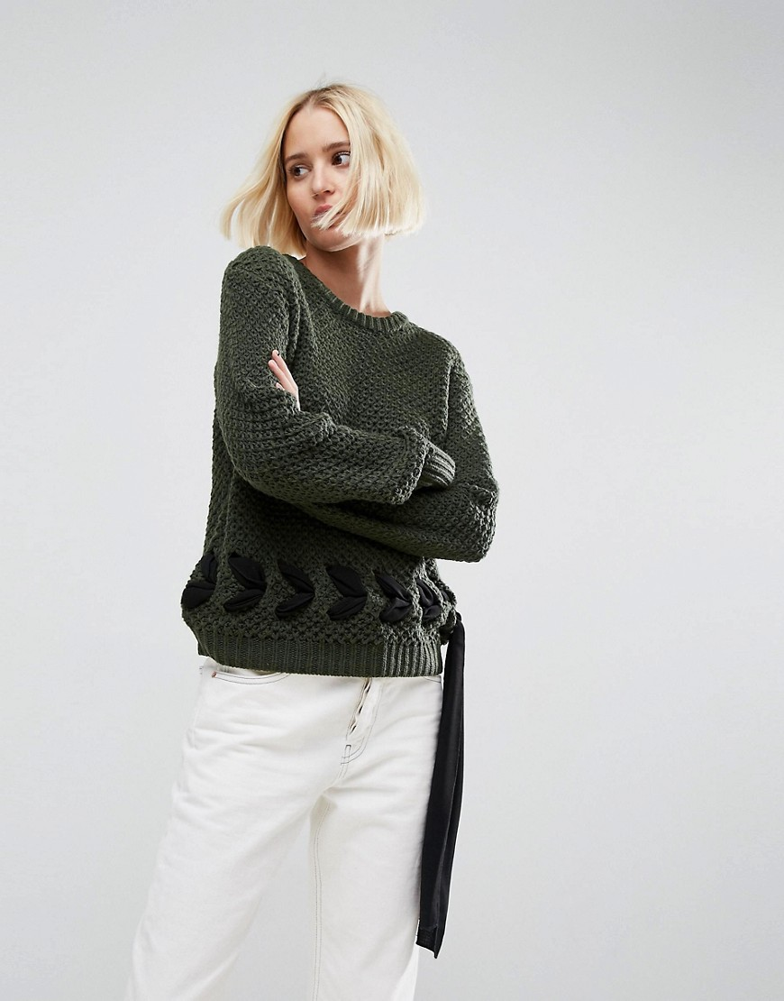ASOS Jumper in Chunky Knit with Lace Up Detail - Khaki