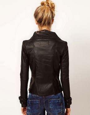Image 2 ofRiver Island Leather Look Drape Jacket
