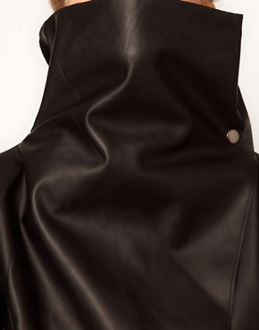 Image 3 ofRiver Island Leather Look Drape Jacket