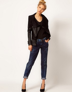 Image 4 ofRiver Island Leather Look Drape Jacket