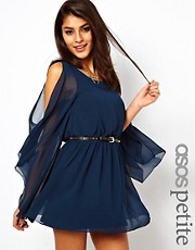 ASOS PETITE Exclusive Cape Sleeve Dress With Studded Belt