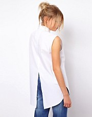 ASOS Sleeveless Boyfriend Shirt With Bib Detail And Split Back
