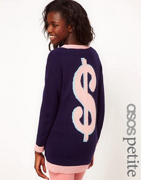 Image 1 ofASOS PETITE Dollar Sign Cardigan