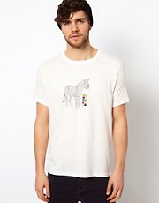 Paul Smith Jeans T-Shirt with Outline Zebra Print