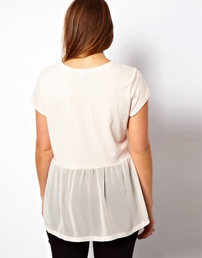 Image 2 ofASOS CURVE Woven Hem Pocket T-Shirt