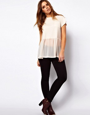 Image 4 ofASOS CURVE Woven Hem Pocket T-Shirt