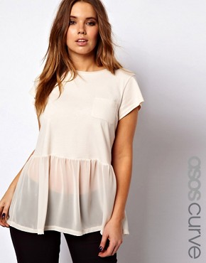 Image 1 ofASOS CURVE Woven Hem Pocket T-Shirt