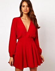 Motel Jetty Skater Dress With Plunge Neck